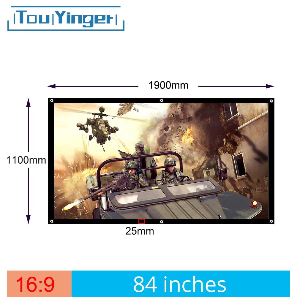 84 inç 169 için taşınabilir ekran projektör plastik beamer ekran ev sineması Bar disko seyahat desteği DLP projektör
