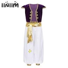 Iiniim เด็ก Arabian Prince ชุดแฟนซีชุดคอสเพลย์หมวกแขนเสื้อกั๊ก Waistcoat กับชุดกางเกงสำหรับ Halloween Dress UP