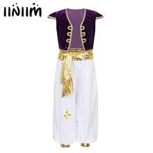 Iiniim Bambini Ragazzi Arabo Principe Cosplay di Fantasia Costumi Cap Maniche del Panciotto Della Maglia con Pantaloni Set per Halloween Dress Up