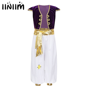 Image 1 - iiniim Kids Boys Arabian Prince Fancy Cosplay Costumes Cap Sleeves Vest Waistcoat with Pants Set for Halloween Dress Up