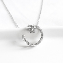 ZOBEI  Real 925 Sterling Silver  Crescent-shaped Pendant Necklace  Fine Jewelry For Women Accessories