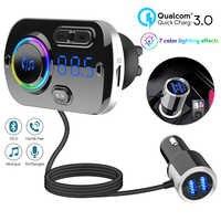 QC3.0 chargeur de voiture bluetooth 5.0 FM émetteur voiture lecteur MP3 double USB Charge rapide avec carte TF jouant de la musique max 3A pour HUAWEI
