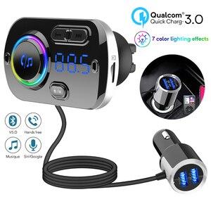 Image 1 - Bluetooth 5.0 Auto Fm zender Auto Fm Modulator Audio Receiver Draadloze MP3 Speler Tf Card Fast Charger Met 7 Kleuren lamp