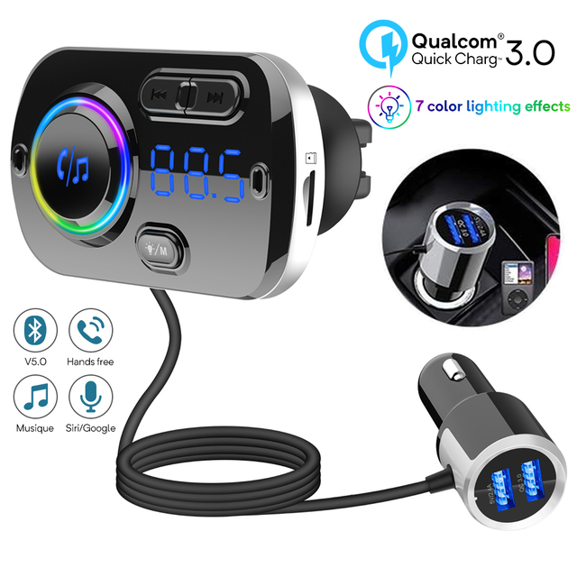 Bluetooth 5.0 Auto Fm zender Auto Fm Modulator Audio Receiver Draadloze MP3 Speler Tf Card Fast Charger Met 7 Kleuren lamp