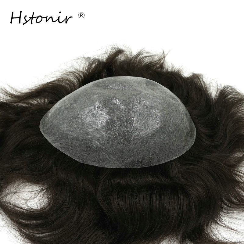 Hstonir Remy Hair Thin Skin Toupee For Men Natural Straight Stock Prosthesis Hair H080