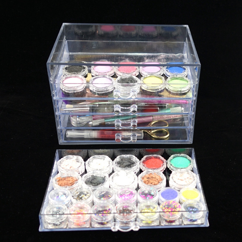 Transparent Five Layers Nail Manicure Storage Box Portable Adjustable Container Acrylic Organizer Nail Tools