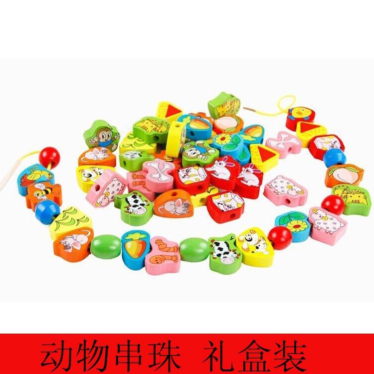 Fruit/Animal Beaded Bracelet Children Early Childhood Cognitive Beaded Bracelet Sub-Toy Fruit Beaded Bracelet Wooden Building Bl
