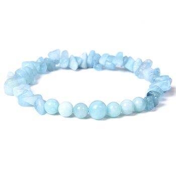 Bracelet en pierres pr cieuses rondes bleues naturelles aigue marines la mode perles en cristal bijou