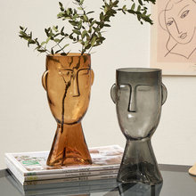 Nordic Glass Human Head Vase Creative Artistic Face Dried Flowers Flower Pot Container Home Decor Handicraft Accessories