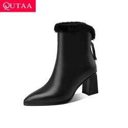 QUTAA-Botines de piel auténtica con cremallera para mujer, botas cuadradas de tacón alto, para mantener el calor, para invierno, talla grande 34-41, 2021