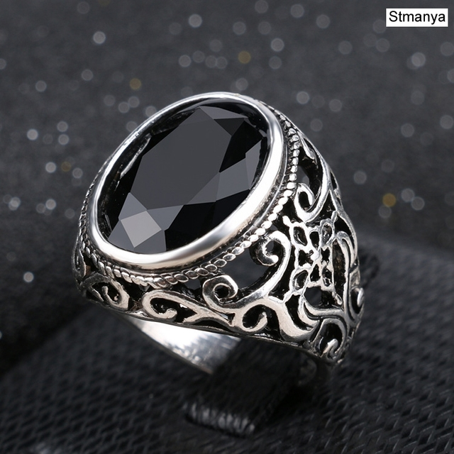 Rings For Men Stone Antique Silver
