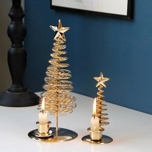 Christmas Tree Candle Holder Metal Wire Stand Center Candlestick Ornaments Decor P0RE