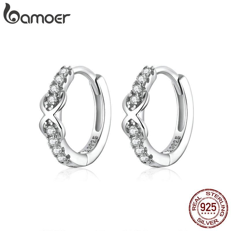 Bamoer 100% Pure 925 Sterling Silver Jewelry Infinite Love Hoop Earrings For Women Luxury Engagement Statement Jewelry SCE872