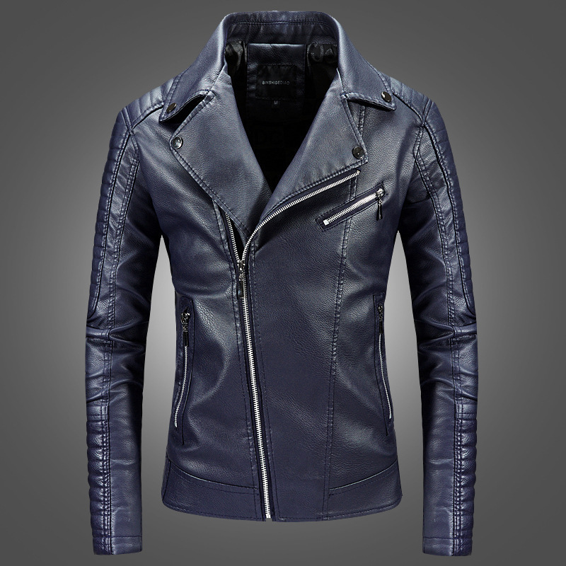 2019 Hot Selling Leather Coat Men Youth Korean-style Slim Fit Short PU Leather Jacket