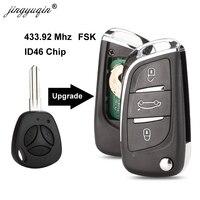 Jingyuqin 433.92mhz id46 fsk para lada 3 botões modificado flip dobrável chave do carro remoto fob substituição atualização