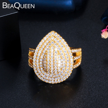 BeaQueen Gorgeous Gold Color Engagement Wedding Water Drop Open Rings for Women Cubic Zirconia Dubai Finger Ring Jewelry R103