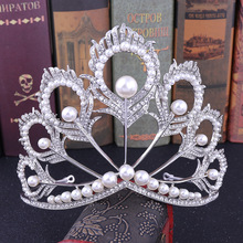 Peacock Feather Wedding Tiara Bridal Hair Jewelry Crystal Diadem for Girls Princess Crown Pearl Headband Decoration