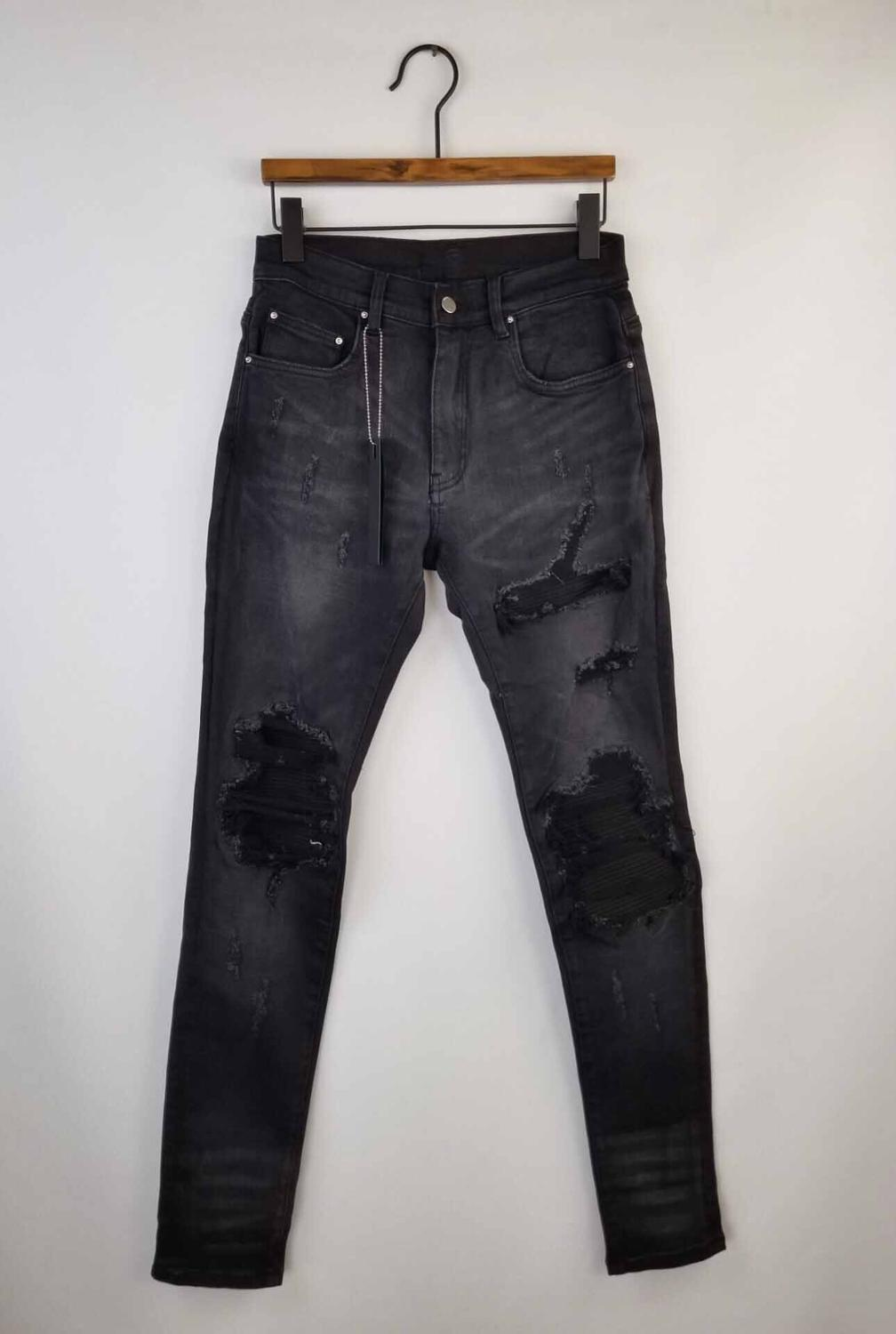New Men Stretchy Skinny Fabric Ribbed Patch Distressed Denim Jeans