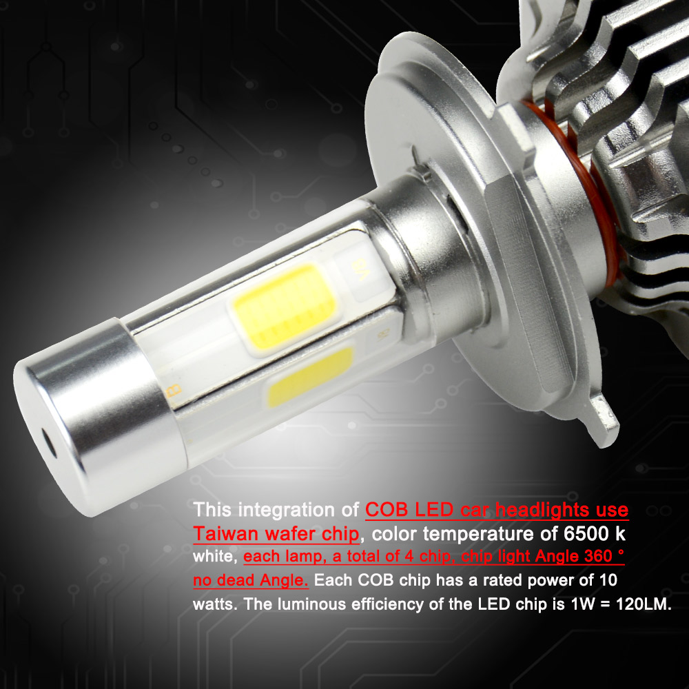 Купить с кэшбэком OkeyTech 2pcs V8 Series Car Led Headlight Bulbs Lamp H1 H4 H7 H11 H8 H4/9003/HB2 Hi/Lo Car High Low Beam 6000K 12V Light Source