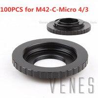 VENES 100PCS/lot lens Adapter for M42 C M4/3, Adapter ring for M42 C M4/3, Lens Adapter For M42 Screw C Mount Movie Lens to M4/3