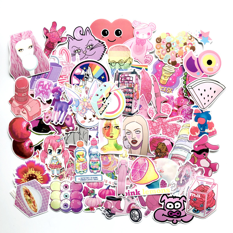 64pcs VSCO GIRL Pink Cartoon Graffiti Stickers Flower Cat Waterproof Window Luggage Suitcase Laptop Decal Sticker Helmet