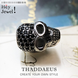 Large Skull Pave Bead 925 Sterling Silver DIY Accessories High Quality Big Hole Gift Vintage Europe Skeleton for Bracelet