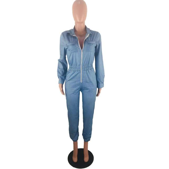 Adogirl Spring Women Long Sleeve Jeans Denim Jumpsuit Casual Zipper Up Deep V Neck Jeans Rompers Sexy Streetwear Outfit Overalls 5