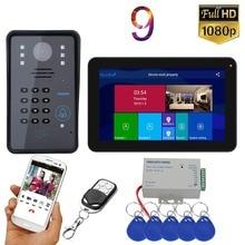 GAMWTER 9 inç Wifi kablosuz RFID görüntülü kapı telefonu kapı zili interkom sistemi kablolu 1080P kamera