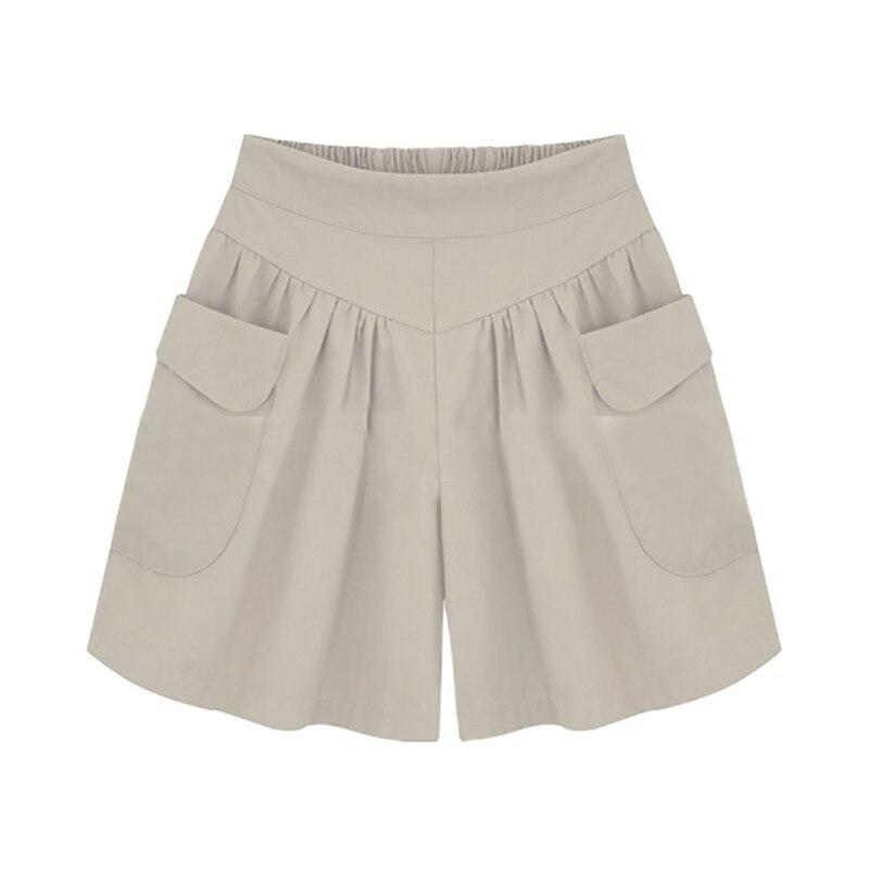 Été grande taille femmes courtes XL-4XL 5XL jambe large femme Shorts décontracté dames en vrac kaki taille haute mince pantalons cortos