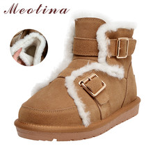 Купить с кэшбэком Meotina Winter Warm Wool Snow Boots Women Cow Suede Buckle Flat Ankle Boots Real Leather Round Toe Shoes Female Plus Size 34-43