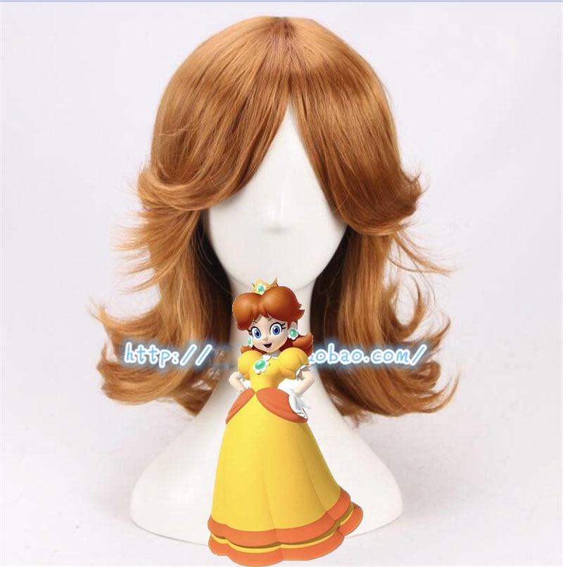 Super Mario Princessdaisy Wig Cosplay Kostum Coklat Pendek Keriting Suhu Tinggi Serat Rambut Wig Untuk Pesta Halloween Bermain Permainan Kostum Aliexpress