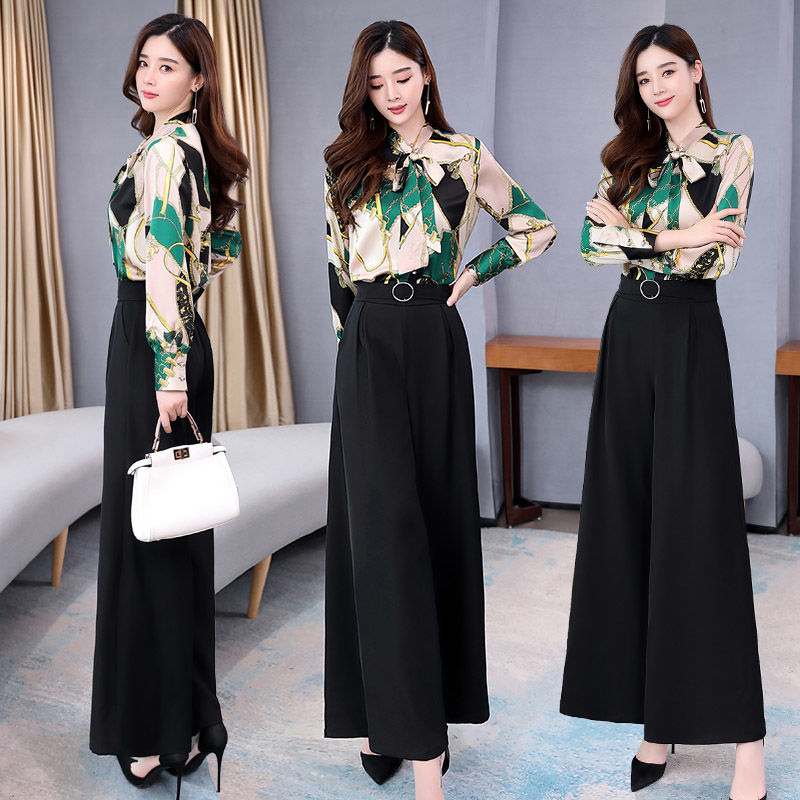 H6e1bf38f31504b808d91e7364cfc684eq - Summer Two Piece Set OL Women Sets Plus Size Two Piece Set Top And Pants Wide Leg Pants Woman Tracksuit /outfit/suit/Set 2 Piece
