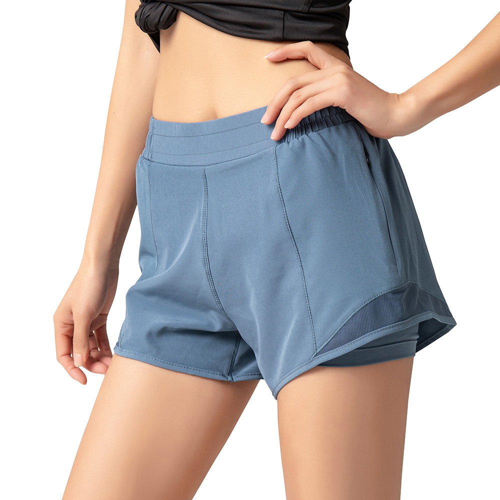 2 in 1 Women Gym Workout Shorts Quick Dry with Zipper Pockets Splicing High Waist Fitness  Compression Sport Shorts