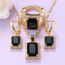 Jewelry-Sets Cubic-Zirocnia-Ring Black Women African Yellow-Gold-Color for with Hot-Selling