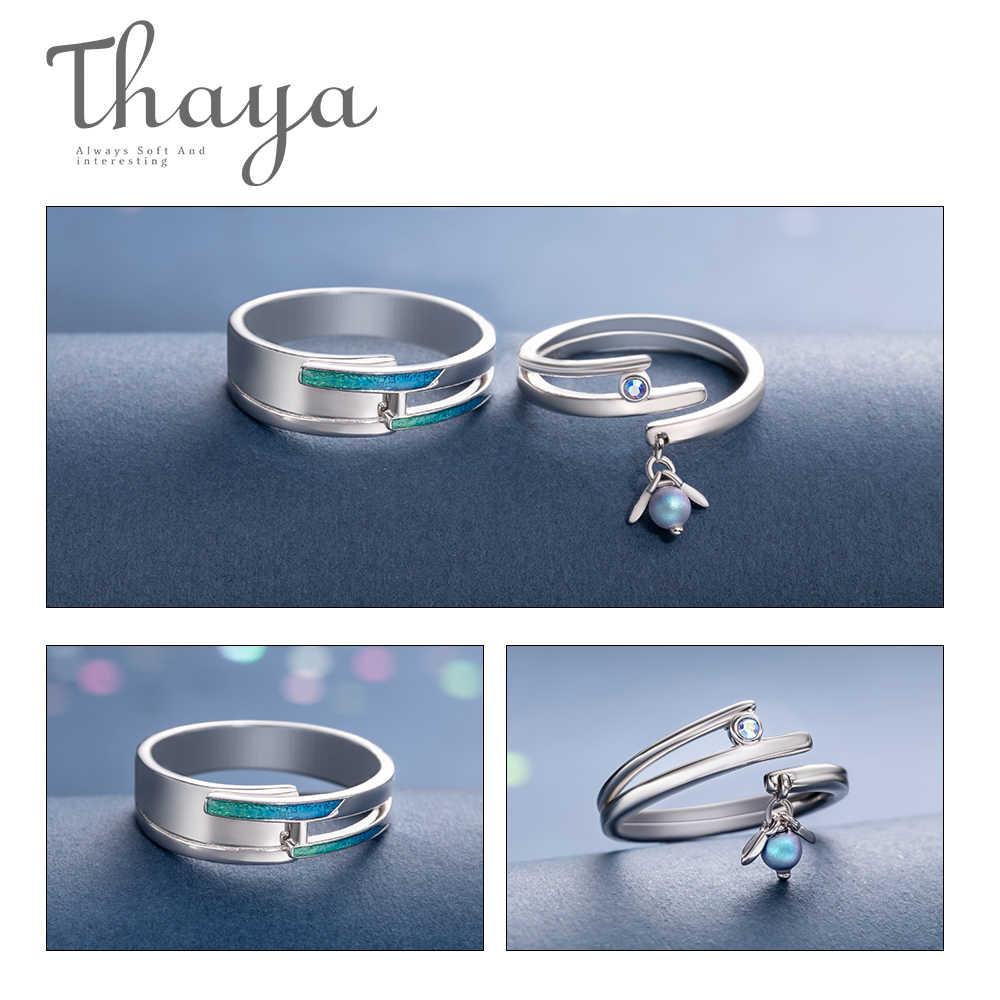Thaya yaz gecesi rüyası tasarım yüzük fantastik renkli inciler S925 ayar gümüş takı yüzük kadınlar için severler hediye