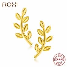 ROXI 925 Sterling Silver Exquisite Leaves Stud Earrings Boho Leaf Ear Climbers Ear Crawlers Bohemian