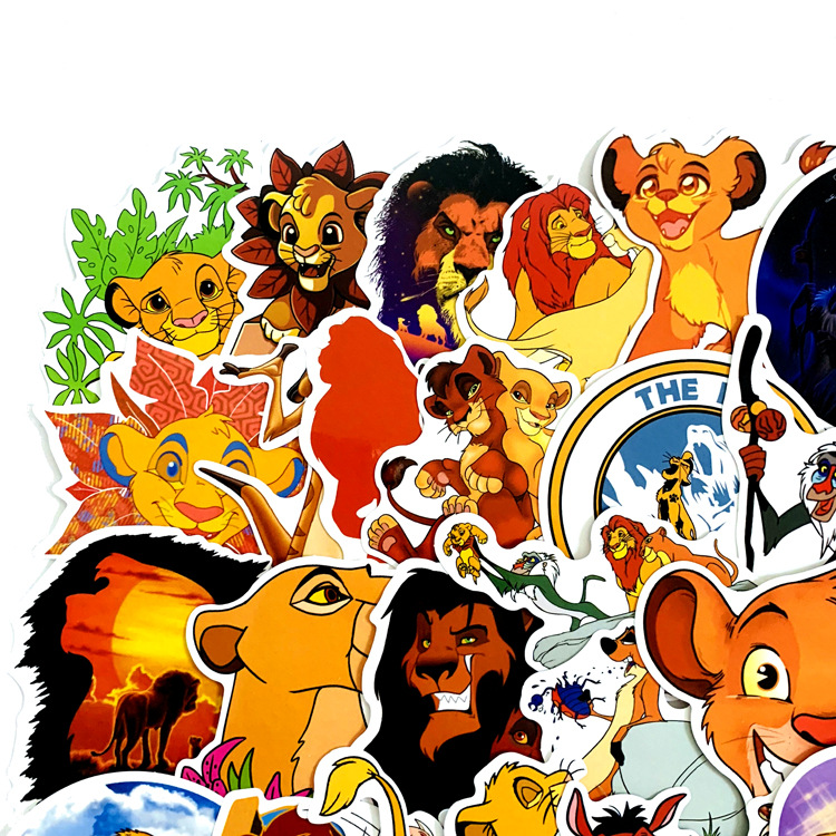 50Pcs Lion King Simba Sticker Cartoon PVC Waterproof Sticker Computer Skateboard Motorcycle Luggage Refrigerator Notebook Sticke in Stickers from Toys Hobbies