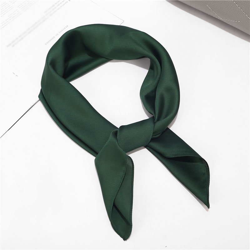 Women Square Scarf Head Neck Hair Tie Band Vintage Square Soft Solid Color Fashion Business Party Elegant Silk Satin Scarf