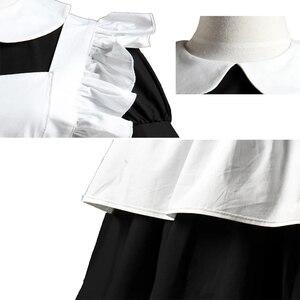 Image 4 - הוט קוטור גותי לוליטה מותניים סינר שמלת עוזרת חליפות כותנה יפני קוספליי תחפושות לבן טלאי רול שרוולים קצר