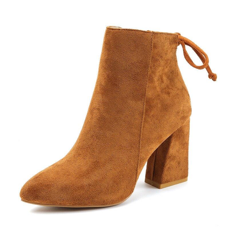 2019 Women Mid Calf <font><b>Boots</b></font> Yellow Color P