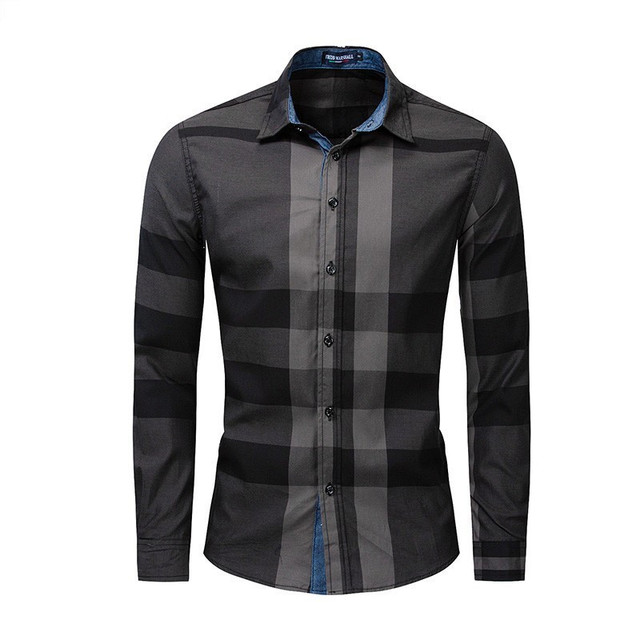 Men Shirt Long Sleeve Casual Vertical Plaid Shirts Mens Chemise Homme 2020 Long Sleeve Casual Slim Fit Shirts 100% Cotton Shirts 2
