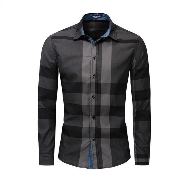 Men Shirt Long Sleeve Casual Vertical Plaid Shirts Mens Chemise Homme 2020 Long Sleeve Casual Slim Fit Shirts 100% Cotton Shirts 2