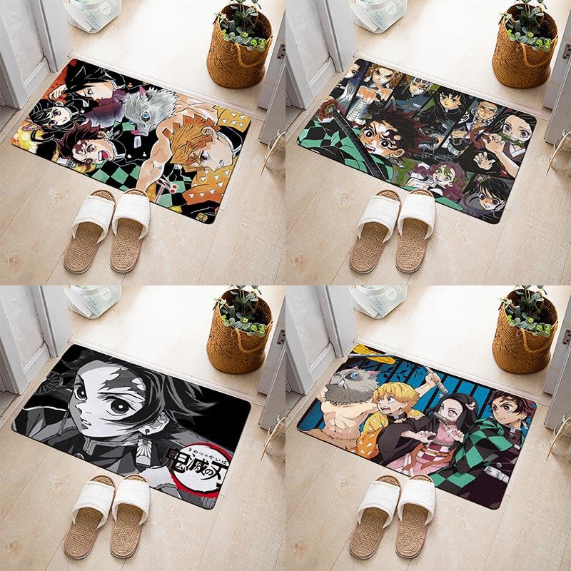 Anime Demon Slayer: Kimetsu No Yaiba Tomioka Giyuu Figure Pad Carpet Rug Plush Bedroom Living Room Gift
