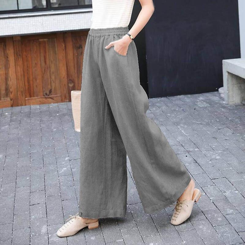 Women Wide Leg 2020 new Fashion Loose High Waist Solid Linen Pants Casual Pants Long Pantalon Trouser Femme Palazzo Korean style|Pants & Capris| - AliExpress