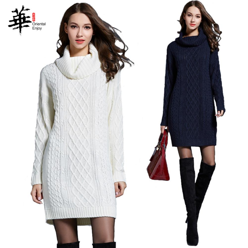 2019 Winter Plus Size Long Sleeve Dress Turtleneck Knitted Casual Mulit-color Sweater Pullover Dress Women