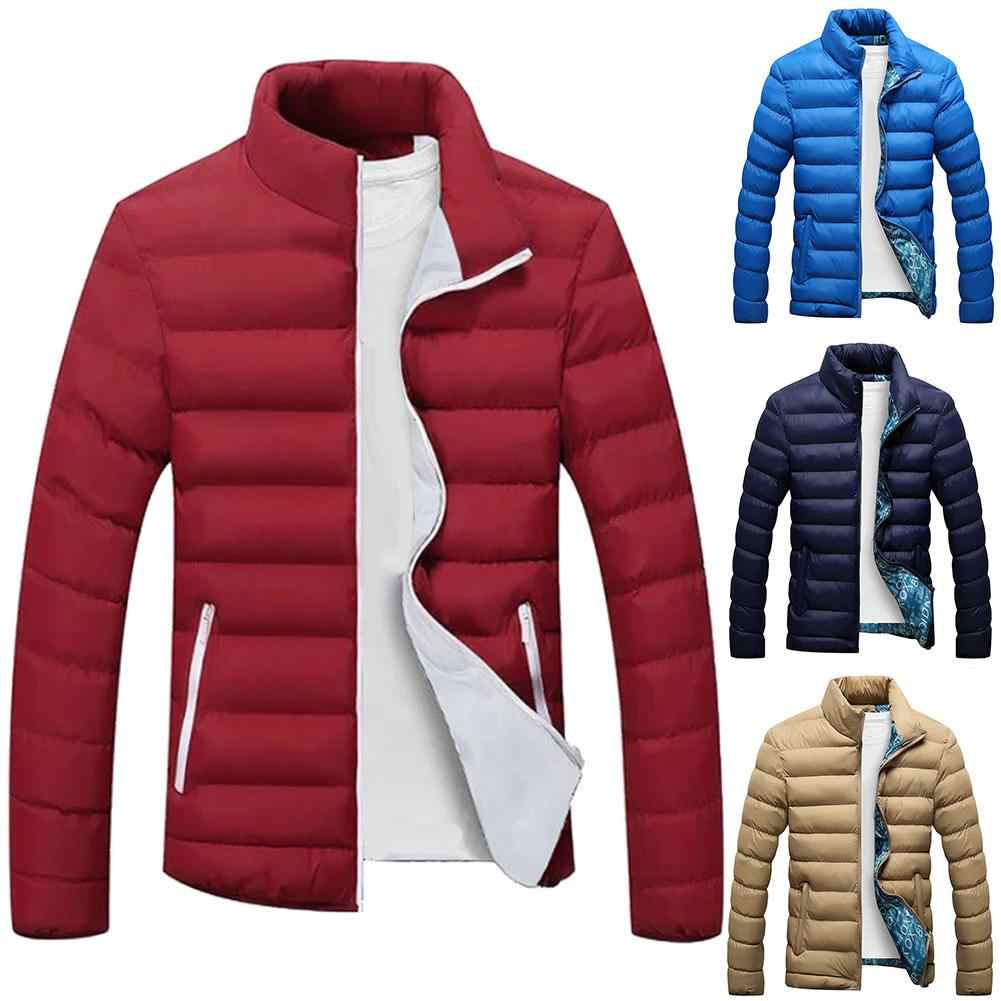 PLUS ขนาดผู้ชายสีทึบซิปขาตั้งคอปกแขนยาวฝ้ายเบาะ Coat เสื้อแจ็คเก็ตชายฤดูหนาว куртка мужская зимняя