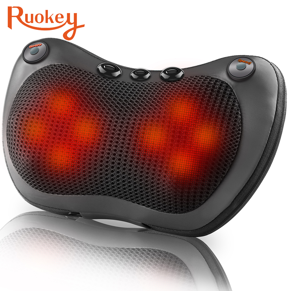 Relaxation Massage Pillow Vibrator Electric Neck Shoulder Back Heating Kneading Infrared therapy Massage Pillow Massage Pillow  - AliExpress
