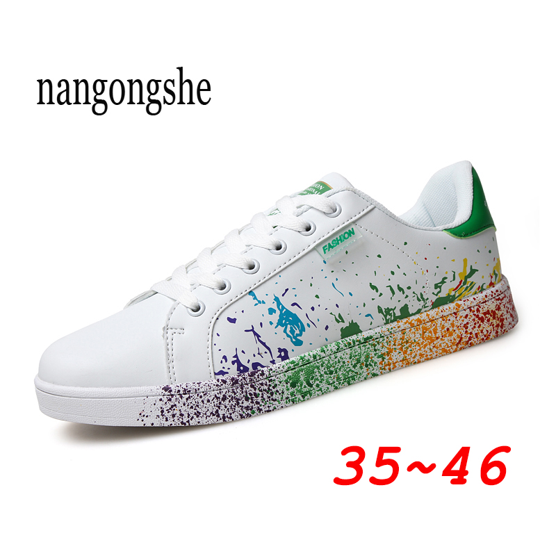 2020 Fashion Women Casual Shoes Graffiti Basket Femme Sneakers Sports Platform Leather White Sneakers Tennis Female Moda Mujer