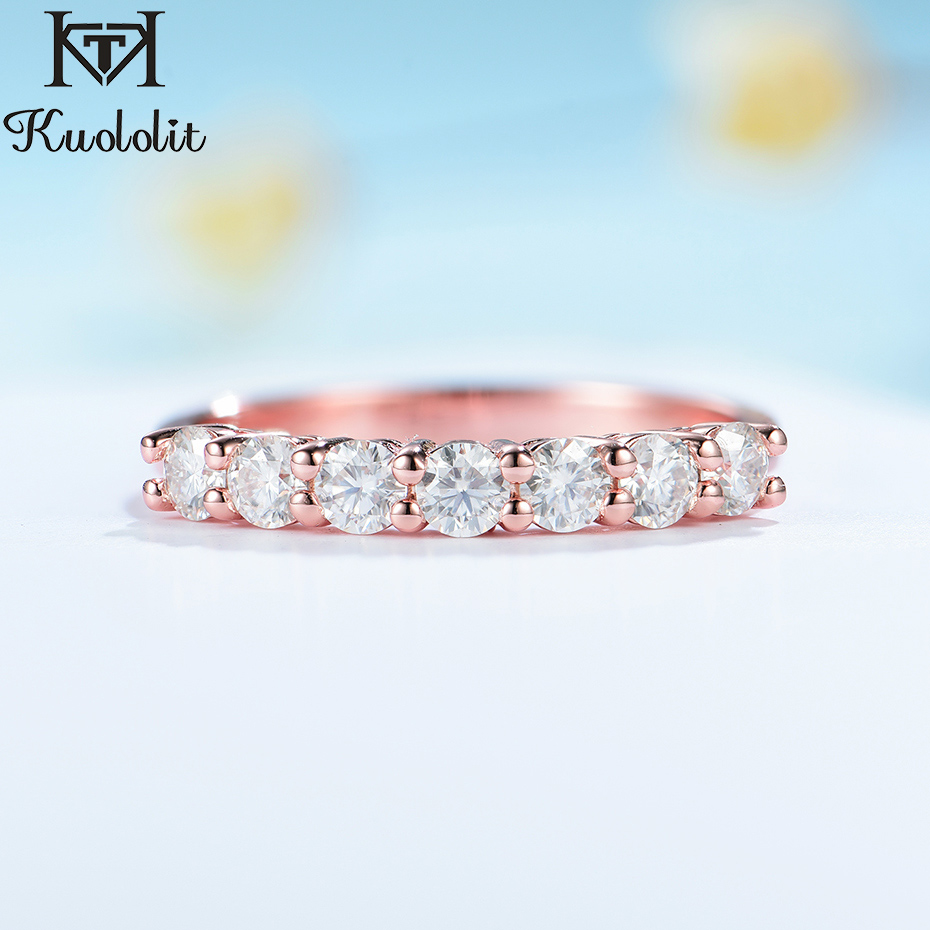 Kuololit 585 14K 10K Rose Gold Moissanite Ring for Women Solitaire Jewelry Matching Half Eternity Wedding Band Engagement New