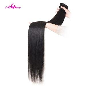 Image 4 - Ali coco 28 30 Polegada pacotes de cabelo humano em linha reta com frontal brasileiro remy cabelo pré arrancado 13x4 13x6 frontal do laço com pacotes